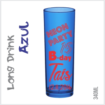 Copo Long Drink Azul Neon